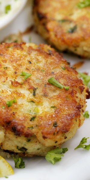 Halibut Fish Cakes with Lemon and Tartar Sauce