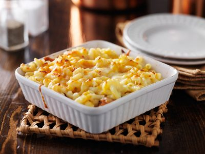 casserole dish with baked macaroni and cheese